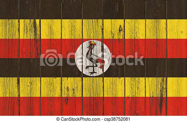 Flag of Uganda painted on wooden frame - csp38752081