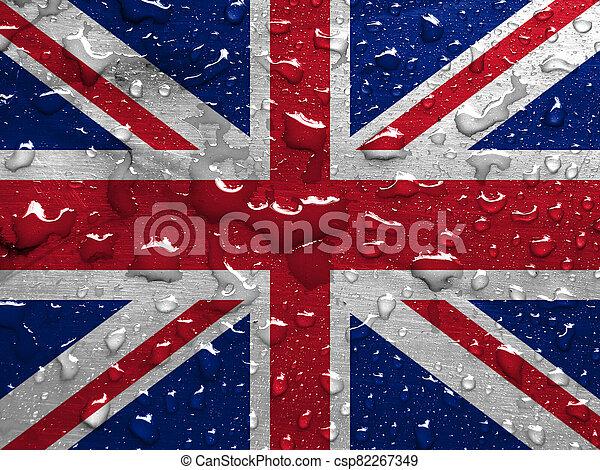 flag of UK with rain drops - csp82267349