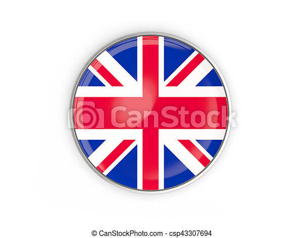 Flag of united kingdom, round icon with metal frame isolated on ...