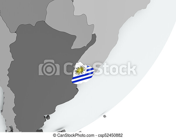 Flag of uruguay on map Uruguay on political globe with pictures