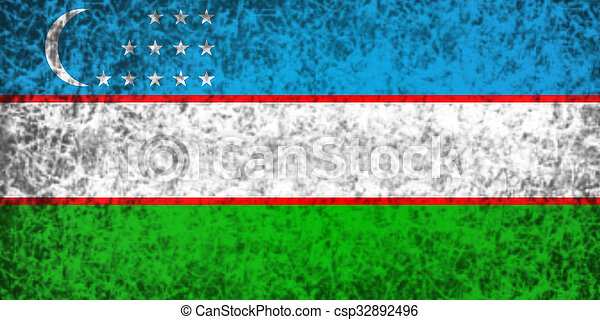 Flag of Uzbekistan. - csp32892496