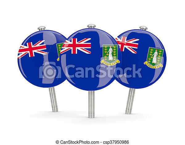 Flag of virgin islands british, round pins - csp37950986