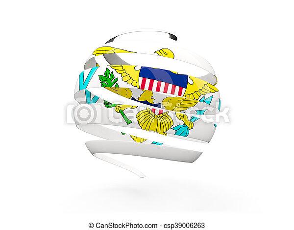 Flag of virgin islands us, round icon - csp39006263