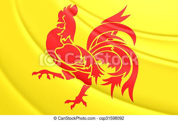 Flag of Wallonia Region, Belgium. - csp31598092