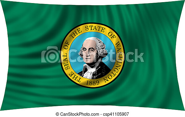 Flag of the US state of Washington. American patriotic element. USA banner. United States of America symbol. Washingtonian official flag waving, isolated on white, illustration