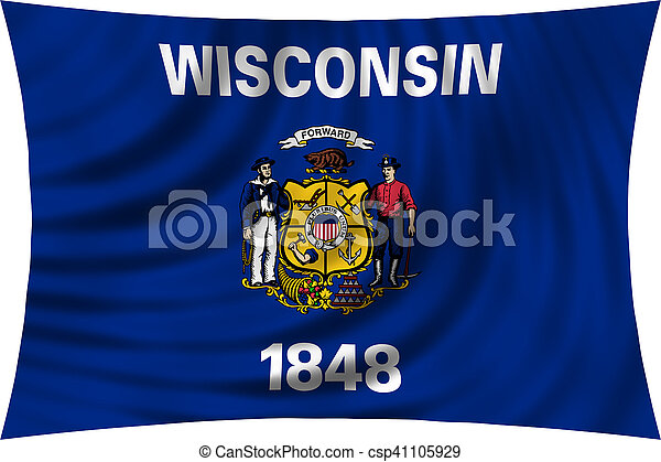 Flag of Wisconsin waving isolated on white - csp41105929