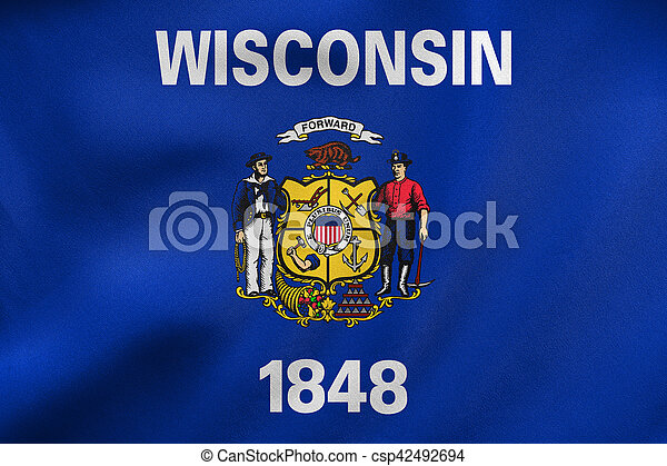 Flag of Wisconsin waving, real fabric texture - csp42492694
