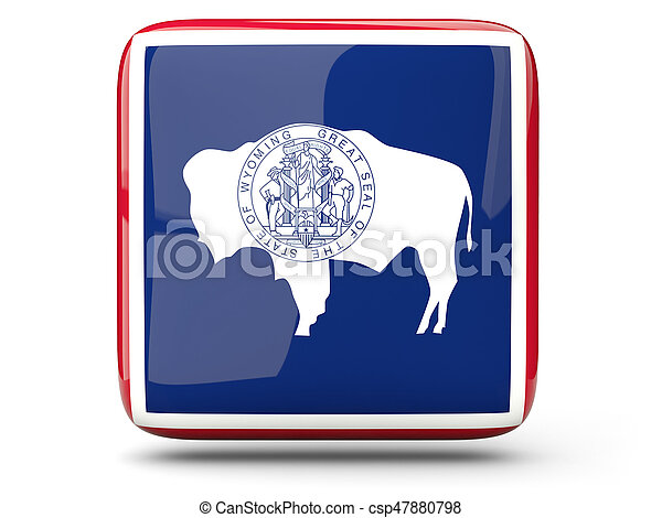 Flag of wyoming, US state square icon - csp47880798