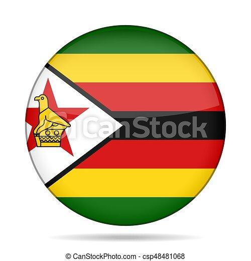 Flag of Zimbabwe. Shiny round button. - csp48481068