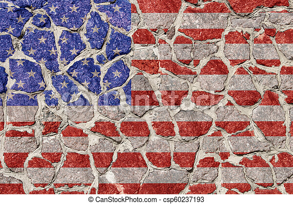 Flag on stones wall - csp60237193