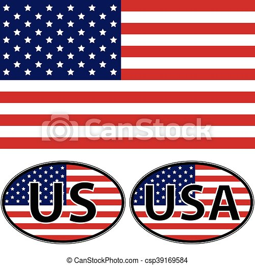 Flag oval stickers usa us vector for print or website design