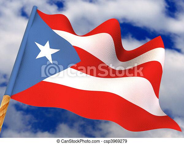 flag puerto rico 3d
