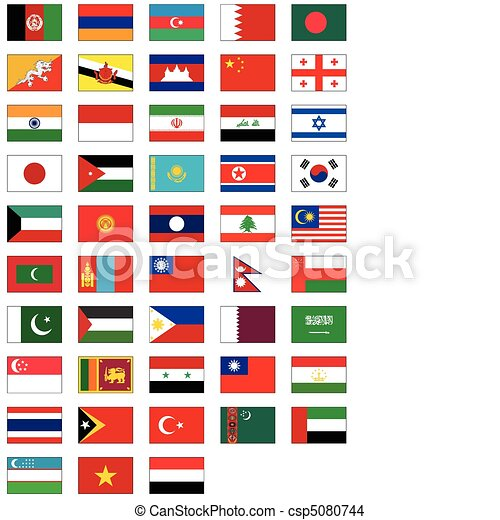 flag set of all Asian countries. - csp5080744