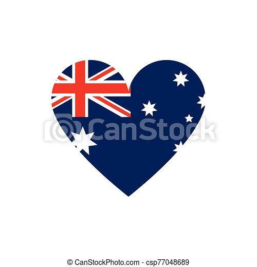 flag shape heart symbol australia icon on white background - csp77048689