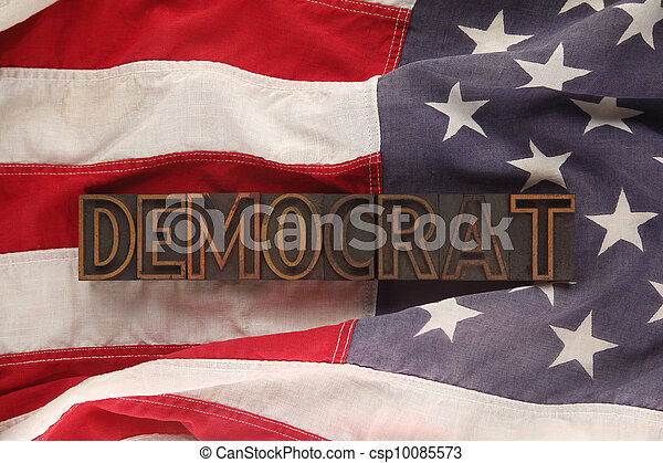 flag with Democrat word - csp10085573