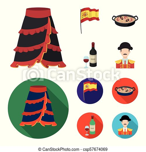 Flag with the coat of arms of Spain, a national dish with rice and tomatoes, a bottle of wine with a glass, a bullfighter, a matador. Spain country set collection icons in cartoon, flat style vector symbol stock illustration web. - csp57674069