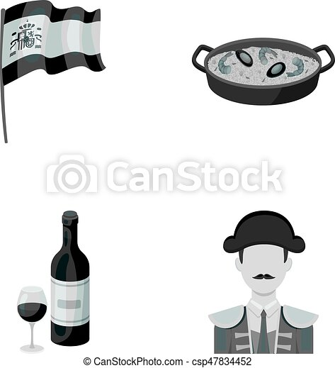 Flag with the coat of arms of Spain, a national dish with rice and tomatoes, a bottle of wine with a glass, a bullfighter, a matador. Spain country set collection icons in monochrome style vector symbol stock illustration web. - csp47834452