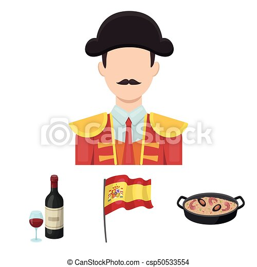 Flag with the coat of arms of Spain, a national dish with rice and tomatoes, a bottle of wine with a glass, a bullfighter, a matador. Spain country set collection icons in cartoon style vector symbol stock illustration web. - csp50533554