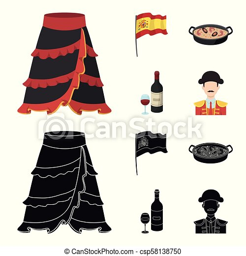 Flag with the coat of arms of Spain, a national dish with rice and tomatoes, a bottle of wine with a glass, a bullfighter, a matador. Spain country set collection icons in cartoon, black style vector symbol stock illustration web. - csp58138750
