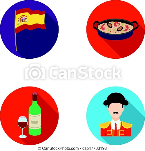 Flag with the coat of arms of Spain, a national dish with rice and tomatoes, a bottle of wine with a glass, a bullfighter, a matador. Spain country set collection icons in flat style vector symbol stock illustration web. - csp47703193
