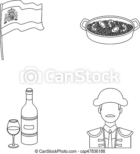 Flag with the coat of arms of Spain, a national dish with rice and tomatoes, a bottle of wine with a glass, a bullfighter, a matador. - csp47836188