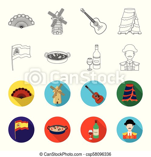 Flag with the coat of arms of Spain, a national dish with rice and tomatoes, a bottle of wine with a glass, a bullfighter, a matador. Spain country set collection icons in outline, flat style vector symbol stock illustration web. - csp58096336
