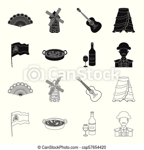 Flag with the coat of arms of Spain, a national dish with rice and tomatoes, a bottle of wine with a glass, a bullfighter, a matador. Spain country set collection icons in black, outline style vector symbol stock illustration web. - csp57654420