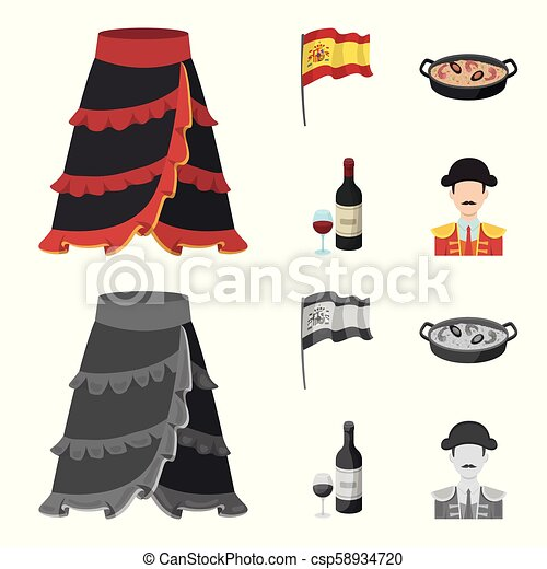 Flag with the coat of arms of Spain, a national dish with rice and tomatoes, a bottle of wine with a glass, a bullfighter, a matador. Spain country set collection icons in cartoon, monochrome style vector symbol stock illustration web. - csp58934720