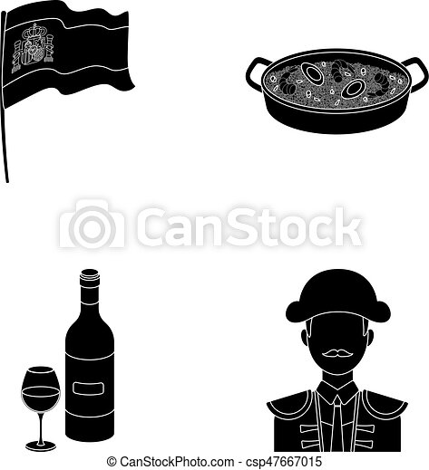 Flag with the coat of arms of Spain, a national dish with rice and tomatoes, a bottle of wine with a glass, a bullfighter, a matador. Spain country set collection icons in black style vector symbol stock illustration web. - csp47667015