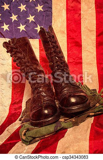 flagga, strid, stövel - csp34343083