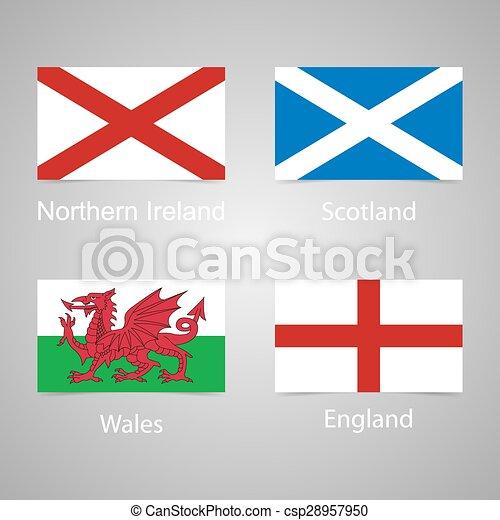 Flaggen Vereinigtes K 246 Nigreich N 246 Rdlich Schottland Genau England Abbildung Vektor