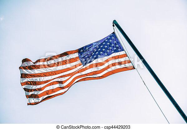 flagpole, アメリカの旗 - csp44429203