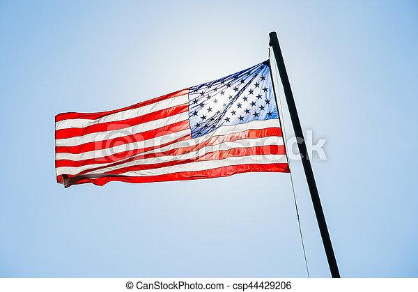 flagpole, アメリカの旗 - csp44429206