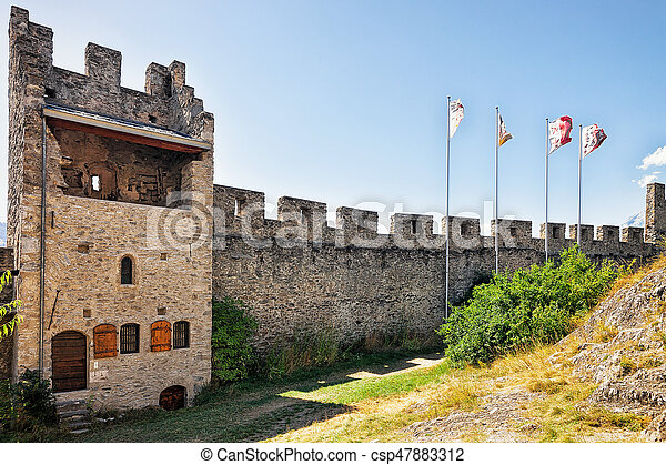 Flags At Tourbillon Castle In Sion Valais Switzerland Flags At