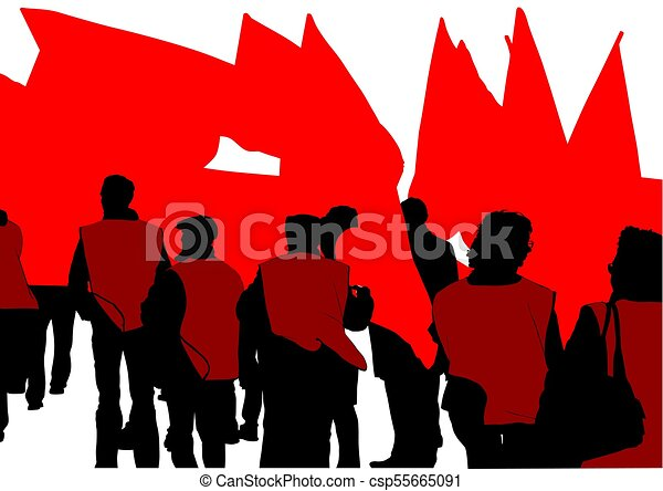 flags crowds one people of with large flags on white eps vectors rh canstockphoto com