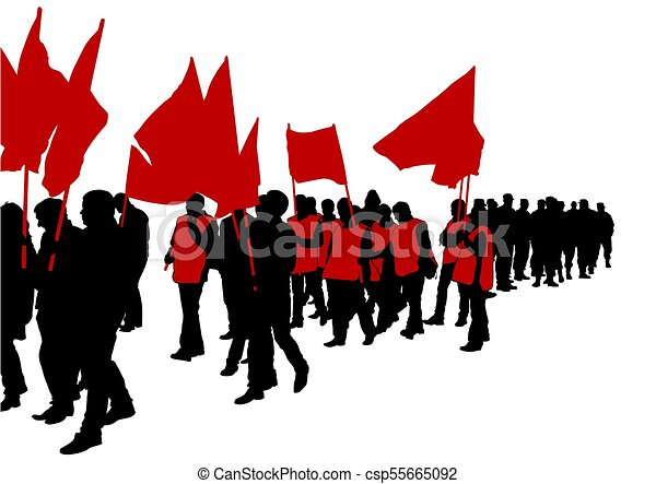 flags crowds two people of with large flags on white background rh canstockphoto com clip art of crows clipart crowds