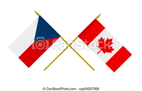 Flags Czech Republic And Canada