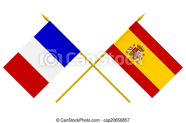 flags france and spain flags of france and spain 3d render isolated