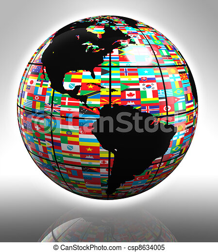 flags globe featuring america - csp8634005
