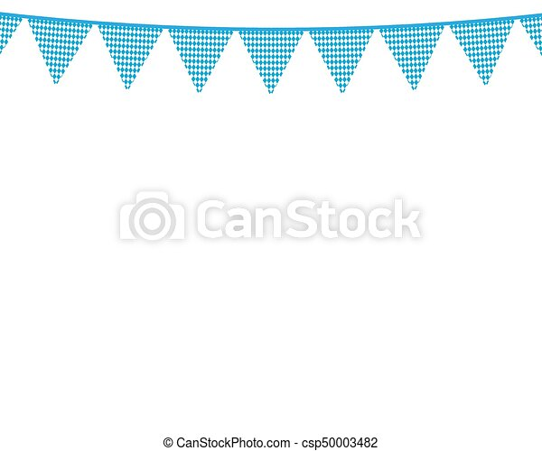 Flags hanging colors of the Bavarian Flag - csp50003482