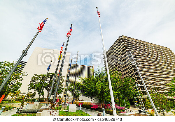 Flags in downtown Los Angeles - csp46529748