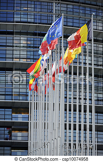 Flags in front of EU Parliament - csp10074958