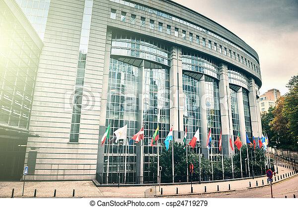 Flags in front of European Parliament building. Brussels, Belgiu - csp24719279