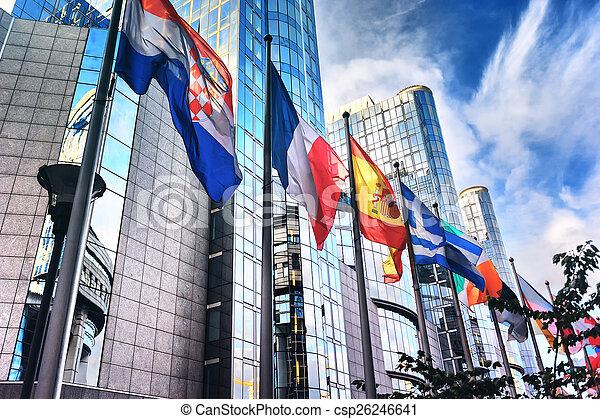 Flags in front of European Parliament building. Brussels, Belgiu - csp26246641