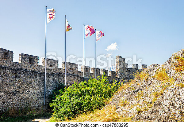 Flags In Tourbillon Castle In Sion Valais Switzerland Flags In
