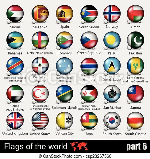 Flags of all countries in the 3d ball - csp23267560