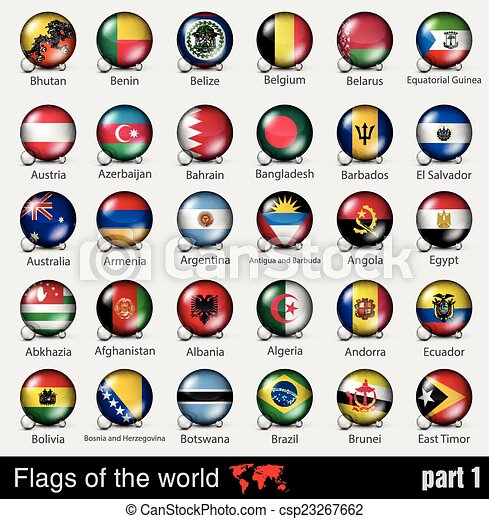 Flags of all countries in the 3d ball - csp23267662
