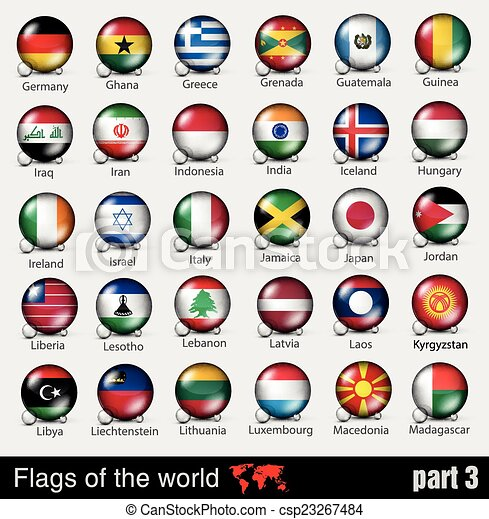 Flags of all countries in the 3d ball - csp23267484