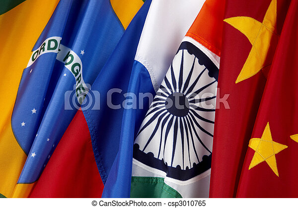 Flags of Brazil. Russian, India and China - csp3010765