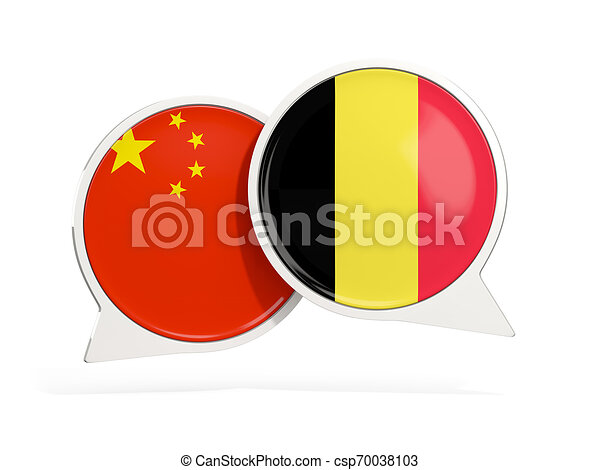 Flags of China and belgium inside chat bubbles - csp70038103